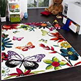 Kids' Rug - Butterfly - Multicoloured Cream, Size:80x150 cm