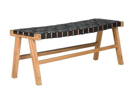 Massivum 10023799 Sitzbank Surrey Teak mit Ledertop, Holz, schwarz, 35 x 100 x 40 cm