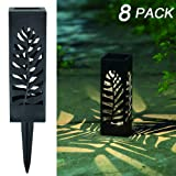 MAGGIFT 8 Pcs Solar Pathway Lights Solar Garden Lights Solar Lights Outdoor Lawn, Patio, Yard, Walkway, Landscape (Color: 8 Pack - Leaves, Tamaño: Leaves)