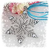 Frozen Large Crystal Snowflake Pendant with Blue Ribbon Necklace