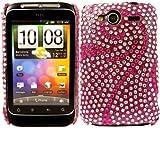 Diamante Diamond Case Cover For HTC Wildfire S / Pink Swirl