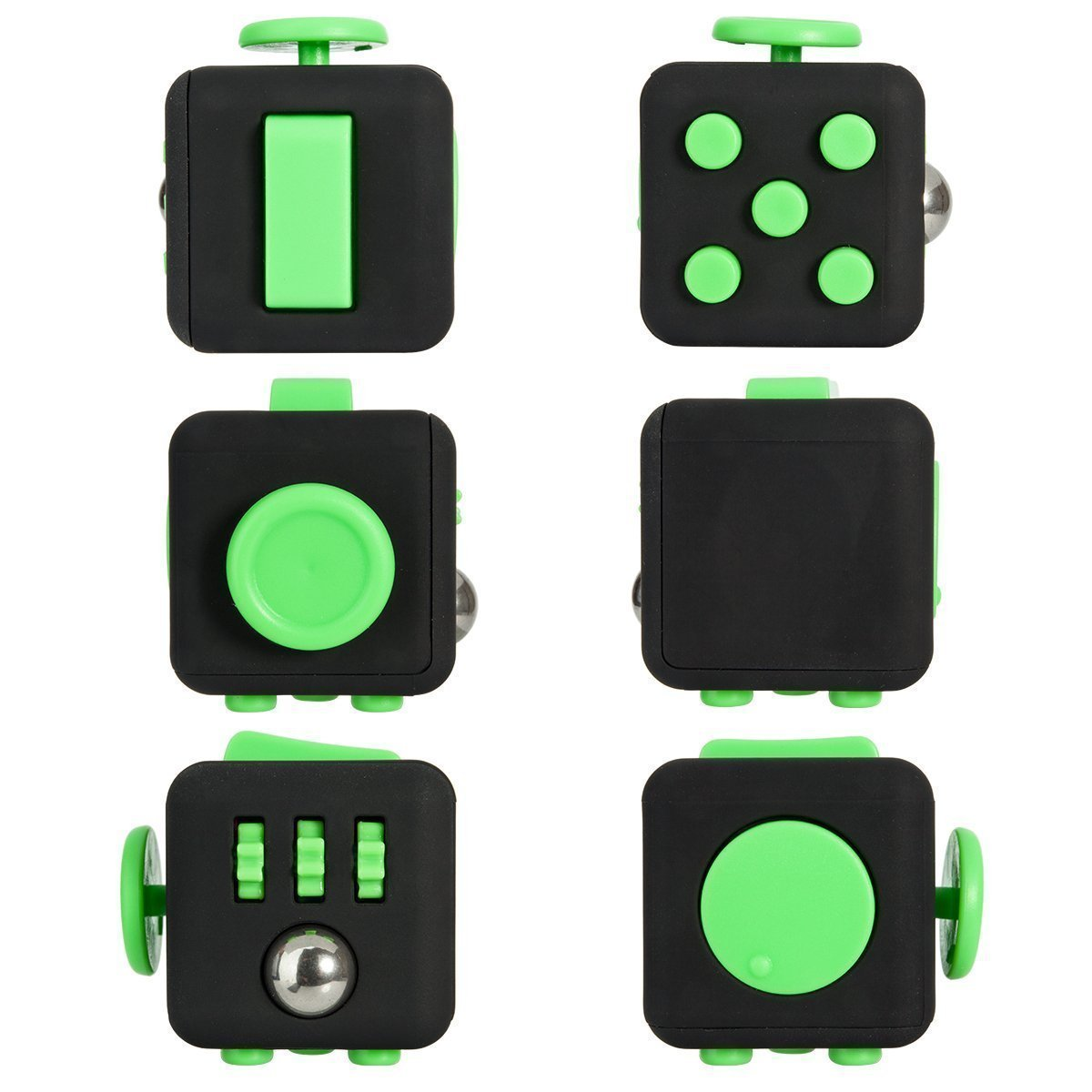 Black Green Stress Fidget Cube