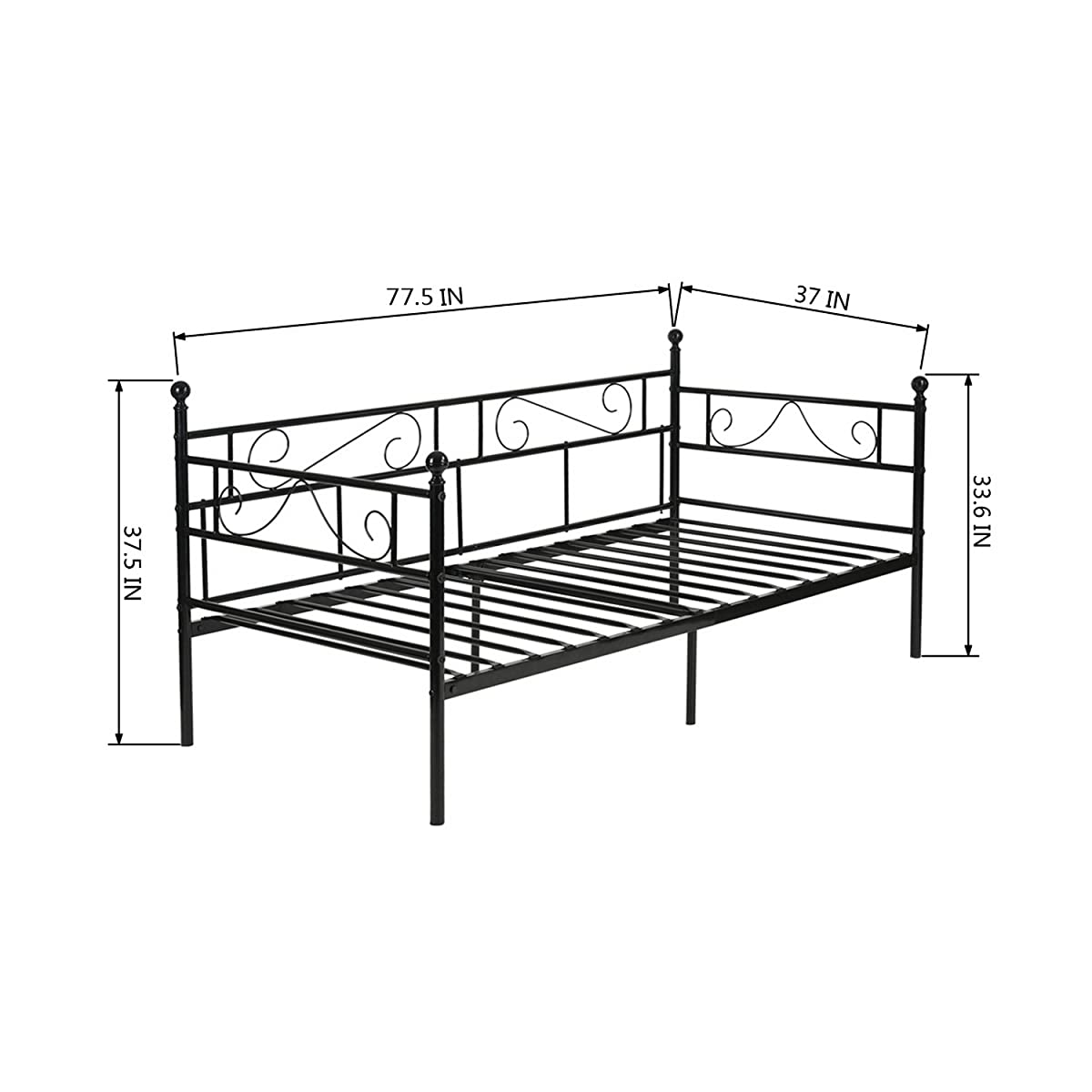 GreenForest Daybed Twin Bed Frame with Headboard and Stable Steel Slats Mattress Platform Base Boxspring Replacement Easy Assembly for Living Room Guest Room Black ¡­