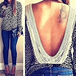 Sexy Women Long Sleeve O-neck Backless Top Shirt Blouse Tee Party Tops Casual (Leopard, Asian M (US S(4) ,UK 6, AU 8))