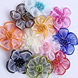 40pcs Organza Ribbon Flowers with Beads Appliques (Multi)