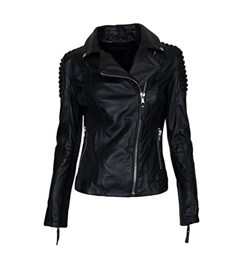 Damen BE EDGY Lederjacke Stella in Schwarz - black