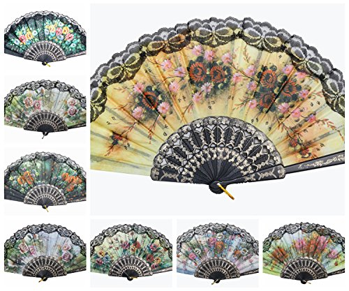 DPUS Wholesale Flower Print Multi-Pattern Decoration Fabric Folding Lace Silk Trim Hand Fan US Seller (6 Pcs, Black Frame)