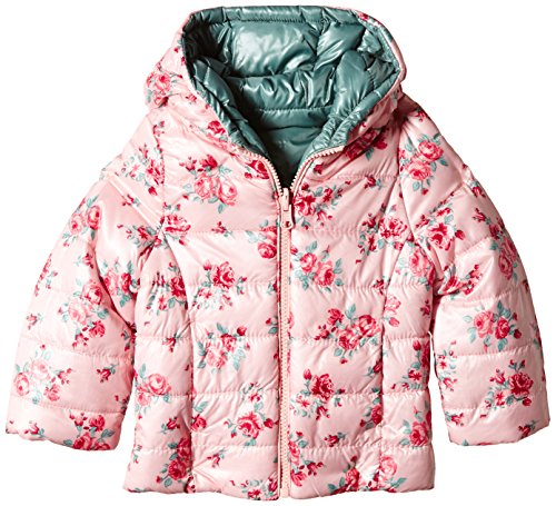 United Colors of Benetton 2PN6535P0 Floral Rev Puffa Hooded-Giubbotto Bambine e ragazze,    Pale Pink Print 12-18 mesi