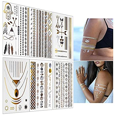 BeneU Waterproof Removable Metallic Temporary Tattoos Gold and Silver Shiny Jewelry Tattoos Shimmer Designs in Gold, Silver, Black & Turquoise