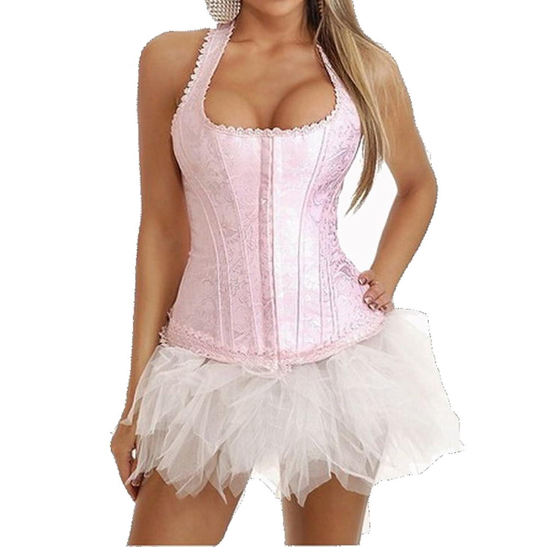LINGERIE: Korsett mit String –  Long Tights –  bei der Verringerung der Taille –  pink Fransen – jetzt kaufen
