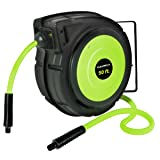 Flexzilla Retractable Enclosed Plastic Air Hose Reel, 3/8 in. x 50 ft., Heavy Duty, Lightweight, Hybrid, ZillaGreen - L8250FZ