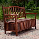 Belham Living Belham Living Richmond 51-in. Curved-Back Outdoor Wood Storage Bench, Brown, Wood, 51L x 23.5W x 36H in.