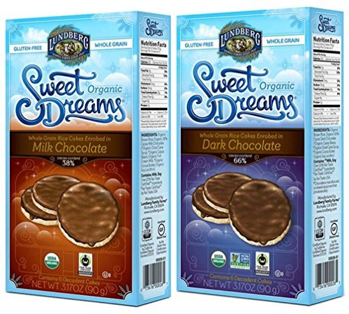 Lundberg Organic Gluten-Free Sweet Dreams Chocolate Rice Cakes 2 Flavor Variety Bundle: (1) Sweet Dreams Milk Chocolate Rice Cakes, & (1) Sweet Dreams Dark Chocolate Rice Cakes, 3.17 Oz Ea (2 Boxes) (Rice Cakes Variety Pack compare prices)