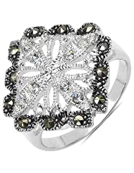 4.90 Grams Marcasite & White Cubic Zircon .925 Sterling Silver Ring - B00XPMBWHK