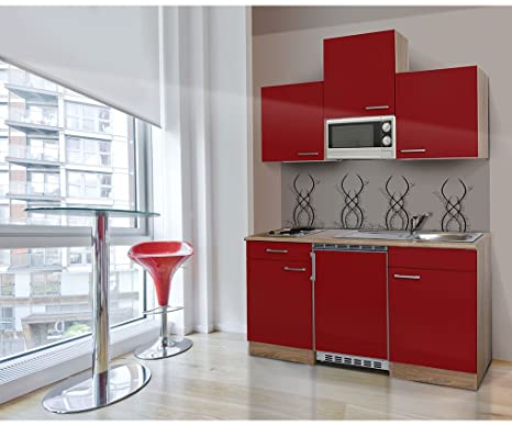 respekta KB150ESRMI - Bloque de cocina (150 cm, reproducción de madera de roble, microondas), color rojo