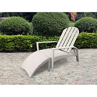 Outdoor Patio White Wicker Adirondack Chair And Ottoman Set