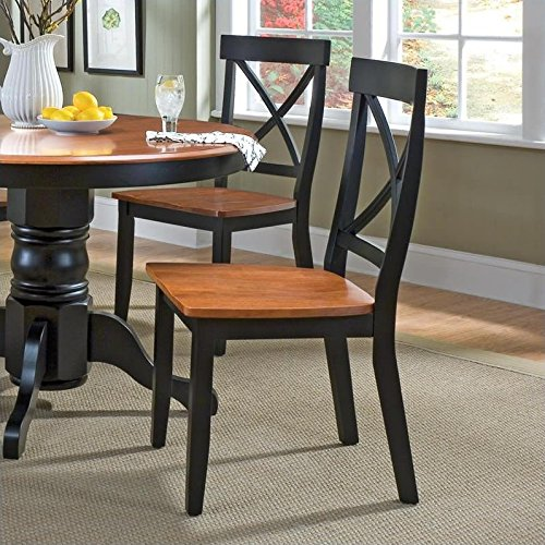 Home Styles Wood Dining Side Chair in Black and Cottage Oak Finish (Set of 2)