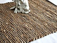 Homescapes - Leather Hemp - Runner - Brown - 66x200cm - Recycled - Eco Friendly - 100% Natural rug - Hall Runner by Homescapes