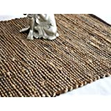 Homescapes - Leather Hemp - Runner - Brown - 66x200cm - Recycled - Eco Friendly - 100% Natural rug - Hall Runnerby Homescapes