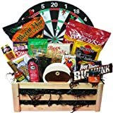 Art of Appreciation Gift Baskets Hit a Bullseye Ultimate Snack Basket with Dart Board