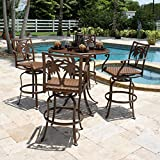 Hospitality Rattan Coco Palm Slatted Pub Set with 4 Swivel Barstools with Arms - Dark Bronze