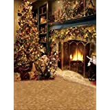 DODOING 5X7ft Christmas Theme Tree Fireplace Photography Backdrop Background Computer-Printed Studio Props Vinyl
