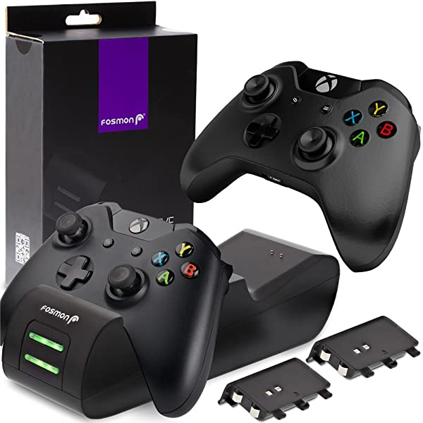 Fosmon Xbox One/One X/One S Controller Charger, [Dual Slot] High Speed Docking/Charging Station with 2 x 1000mAh Rechargeable Battery Packs (Standard Compatible) (Color: Black)