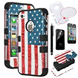 Pandamimi ULAK(TM) Fashion Pattern Hybrid High Impact Soft TPU + Hard PC Case Cover for Apple iPhone 4S 4 4G with Screen Protector and Stylus (USA+Black) Reviews