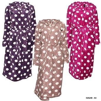Ladies Warm Polka Dot Hooded Dressing Gown EL Size Large