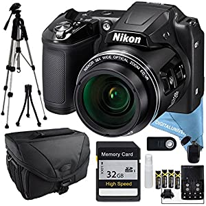 Nikon COOLPIX L840 Black, 32GB SD Card, Full Size Tripod, Batteries & Charger, Camera Bag