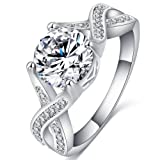 FENDINA Jewelry Womens Luxurious 18K White Gold Plated Cubic Zirconia Infinity Love Solitaire Promise Eternity Ring Engagement Wedding Anniversary Band Her, Size 9