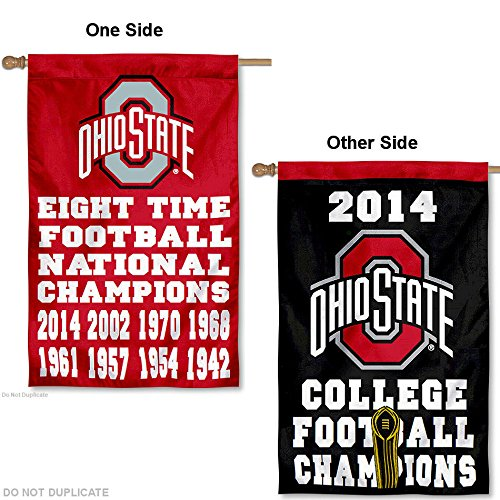 OSU Buckeyes 8 Time Champions Double Sided House Flag (Osu Buckeyes National Champions compare prices)
