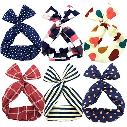 Sea Team Twist Bow Wired Headbands Scarf Wrap Hair Accessory Hairband by Sea Team