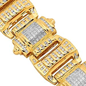 14K Yellow Gold Mens Diamond Hip Hop Bracelet 13.25 Ctw