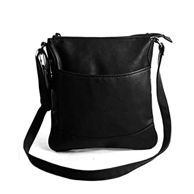 Black Leather Shoulder Bag With Pockets 3