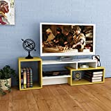 ALIDA TV Lowboard - White / Mustard - TV Stand - Wall Unit - Living room set with wall shelf in modern design, width 137.50cm