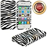 "myLife (TM) Black + White Zebra Stripes Series (2 Piece Snap On) Hardshell Plates Case for the iPhone 4/4S (4G) 4th Generation Touch Phone (Clip Fitted Front and Back Solid Cover Case + Rubberized Tough Armor Skin + Lifetime Warranty + Sealed Inside myLife Authorized Packaging) ""ADDITIONAL DETAILS: This two piece clip together case has a gloss surface and smooth texture that maximizes the sty at Amazon.com"