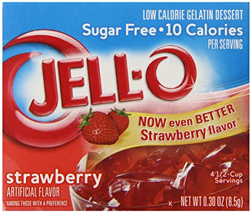 Jell-O Sugar-Free Gelatin Dessert, Strawberry, 0.30-Ounce Boxes (Pack of 6)