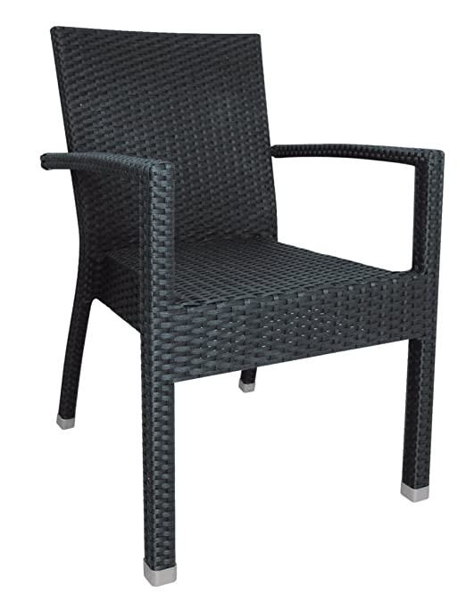 Bolero DL477 Wicker Armchair, Charcoal (Pack of 4)
