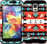 Wireless Fones TM Samsung Galaxy S5 Case Dual Layer Hybrid Impact Resistant Protective Case Orange Tribal Aztec with Anchor Love Snap on Over Black Skin