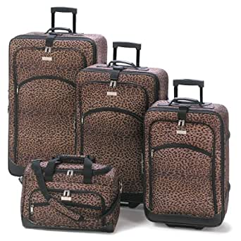 4Pc Matching Leopard Print Travel Luggage Bag Ensemble