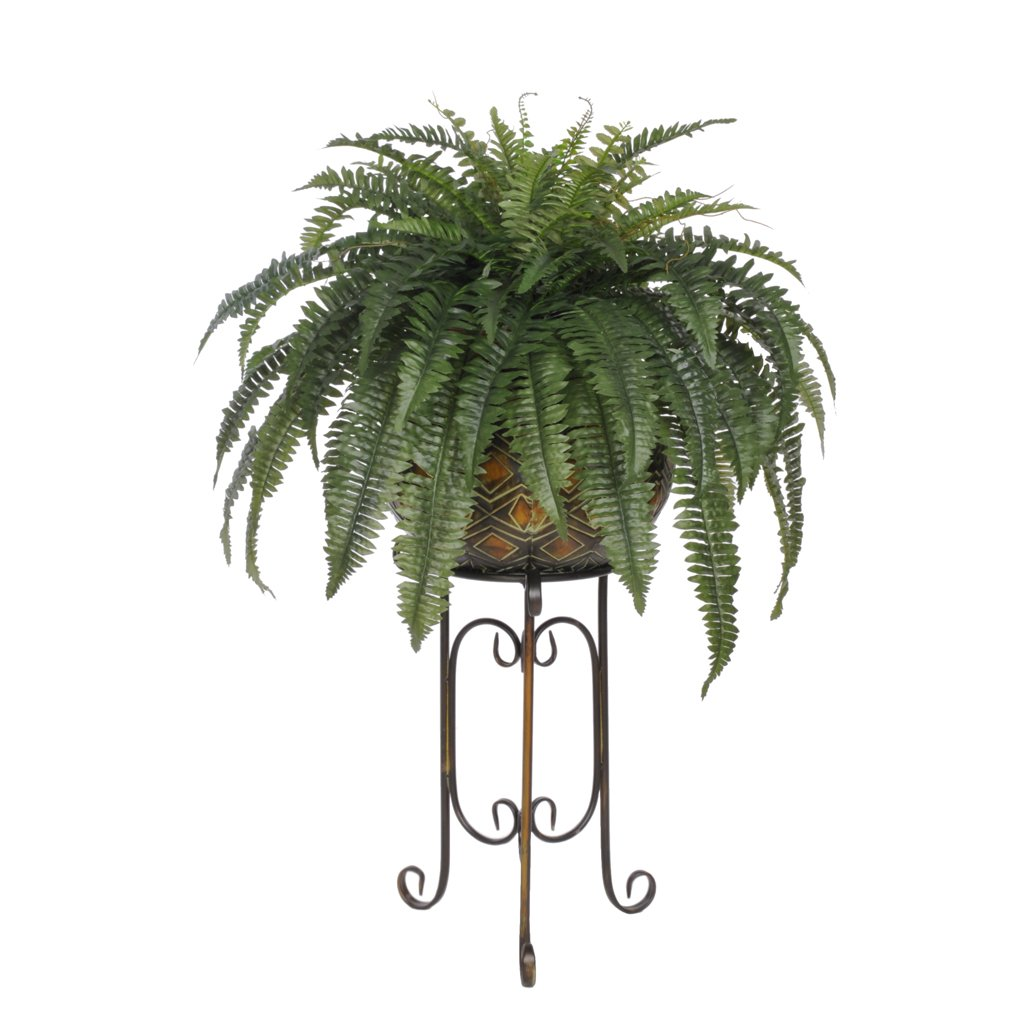 House of silk flowers artificial fern in large tribal planter stand mightylinksfo
