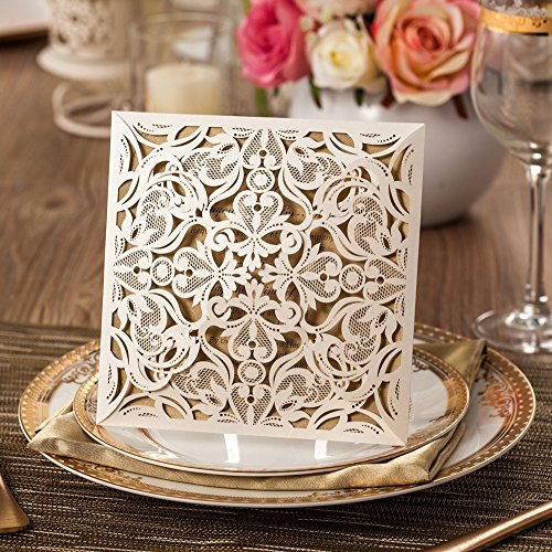 Wishmade 100x White Square Laser Cut Wedding Invitations Kit With Envelope and Seals Card Stock For Engagement Bridal Shower Birthday Baby Shower Party CW519 (Bridal Shower Seals compare prices)