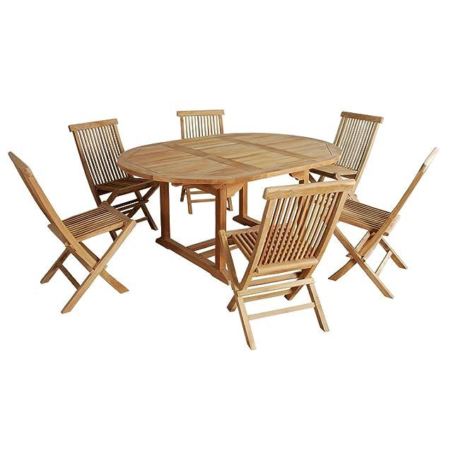 Set da giardino in TEAK GREZZO DI GRADO A 6/8 pers - Tavolo rotonda/ovale 120/170cm + 6 sedie