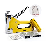Staple Gun with 600 Staples, Mopha Carbon Steel 3 in 1 Staple/Brad Nail Gun, Hand Operated Stapler for Upholstery, Fixing Material, Decoration, Carpentry, Furniture w/Bonus A Pair of Gloves (Color: Silver & Yellow, Tamaño: 6.3x0.8x4.3in)