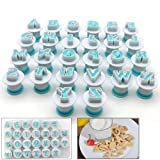 Neepanda Alphabet Letter Fondant Cake Biscuit Mold, Cookie Stamp Impress, Alphabet Letters Cake Tool, Embosser Cutter, Upper Case Letter Shape DIY Cookie Biscuit(Plastic, 26PCS/Set) (Color: A)