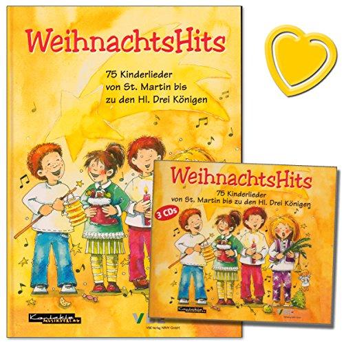 WeihnachtsHits-im-Set-die-75-schnsten-bekanntesten-neue-Weihnachtslieder-fr-Kinder-Buch-mit-stabilem-Hardcover-3er-CD-Box-mit-bunter-herzfrmiger-Notenklammer