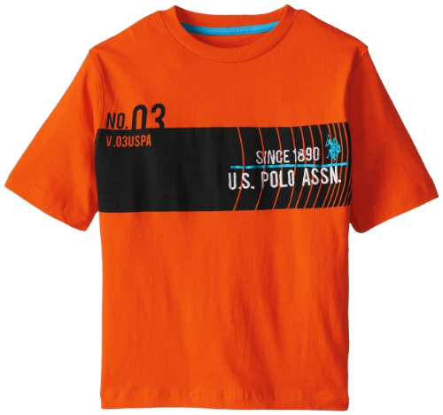 U.S. Polo Assn. Big Boys' Short Sleeve Chest Stripe Graphic Crew Neck Jersey T-Shirt, Summer Orange, 18