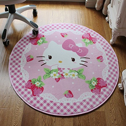 E.a@market Round Children's Cartoon Kt Cat Door Mat Computer Chair Cushion Bath Non-slip Mat