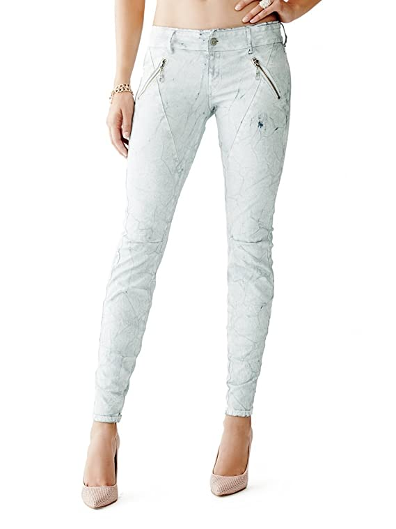 GUESS Women's Letitia Mid-Rise Skinny Jeans in Whisper White Wash